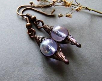 """Small Rustic Drops Earrings """"Morning Fog""""- Delicate Glass Drop Earrings, Bohemian, Woodland, Glass Copper Earrings"""