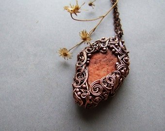 Raw Carnelian Necklace, Carnelian Pendant, Gift for Her, Bohemian, Organic, Rustic Necklace With Raw Carnelian