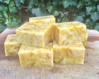 2 bars Calendula Lemon Bergamot Lemongrass Clove Honey Natural Cold Process Soap UK