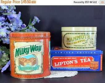 3 Vintage Tins, Assorted Lidded Tin Canisters, Milky Way, Liptons Tea and Mammoth Salted Nuts 13390