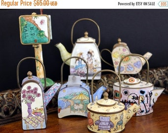 7 Enamel Miniature Teapots, Enamel over Brass, Collector Teapots, Hand Painted, Empress Arts
