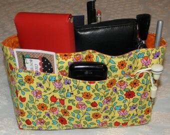Purse Insert, Bag Organizer Insert, 15 Pockets, Yellow Floral Print, Bucket Style, Handbag, Purse, Tote Bag, Travel Bag, Ready to Ship