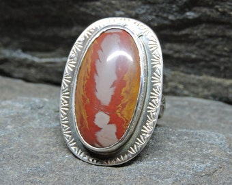 Noreena Jasper Ring, Size 7.5, Sterling Silver, Oval jasper Ring, Modern Ring, Handmade, Australian Gem, Red, Orange, Taupe, Statement Ring