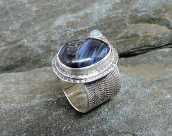 Blue Pietersite Ring, With Moonstone, Sterling Silver, Tempest Stone Ring, Deep Blue, Chatoyant Stone, Swirls of Blue, Made in NH