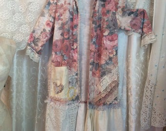 Shabby Floral Coat, romantic vintage ivory cream laces lagenlook tunic, LARGE