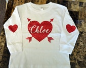 YOUTH Long Sleeve (No Pocket) Heart Patches Monogrammed Heart Shirt - Valentines - Elbow Patches - Glitter Vinyl