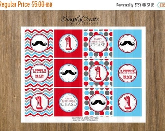 SALE Mustache Cupcake Toppers Little Man DIGITAL File 8.5x11 JPEG File Personalized