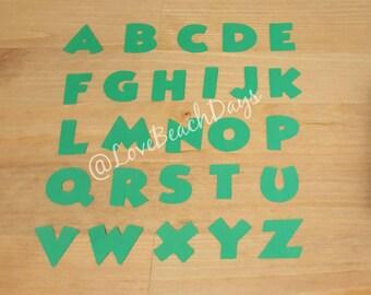 GREEN Disney Alphabet: 1 inch 110 piece Disney Scrapbooking Font Set, Mickey Custom Confetti Pieces, Scrapbooking, Birthday, Decorations