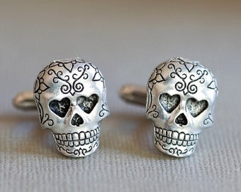 ON SALE Jewelry Gift,Sugar Skull,Skull Cufflinks Silver Plated Metal Vintage Inspired Style Antiqued Finish Men's Cuff Links & Accessories