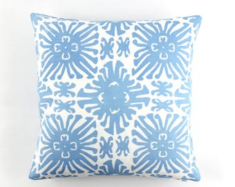 Quadrille China Seas Sigourney Small Scale Pillow (shown in French Blue on White -comes in many colors)