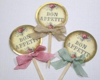 10 Marie Antoinette Cupcake Toppers - Food Picks - Vintage - Favors - Pink Cream Green - Paris Wedding - Bridal Shower - Girl Birthday