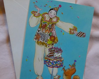 Pierrot / Harlequin / Clown /  Birthday Card 1979 / Maxine Miller