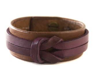 Handcrafted 1 inch wide Leather Knotted Bracelet Men or Women size 6 Available or Cusom Sizes