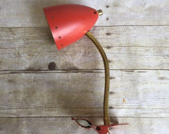 Vintage Goosneck Clip On Task Lamp - Red - Stars - 1950's