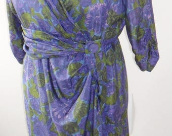 1950s vintage pure silk floral fabric wrap dress - LARGE