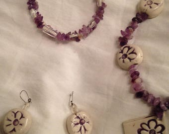 One of a Kind Handmade Purple Flower Power on White Ceramic Pendant and Beads with White Clear Glass Beads Necklace Bracelet Earring Set