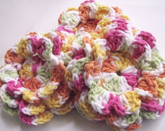 Large Crochet Flowers - 3 Layered Flowers in Bright Colors