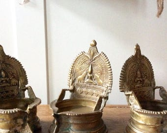 Kamakshi Oil Lamp Votive Bronze Shipping Included in the U.S.