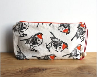 Robin redbreast clutch bag, large pencil case, boho clutch, block printing, handmade