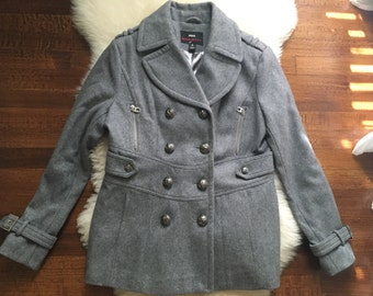 Miss sixty grey peacoat size large