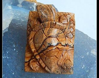 Carved Picture Jasper Gemstone  Tortoise Pendant Bead,41x31x15mm,26.3g(a0927)