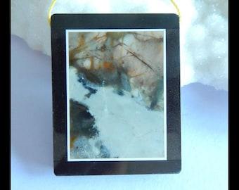 Picasso Jasper,Obsidian ,White Jade Intarsia Pendant Bead,41x33x6mm,19.1g(d0569)