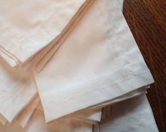 Handmade Cloth Napkins, Set of Six, White, Dinner Napkins