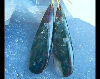 Natural Ocean Jasper Teardrop Earring Bead,46x12x5mm,8g