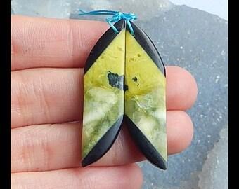 Serpentine,Obsidian Intarsia Earring Bead,40x11x4mm,5.7g