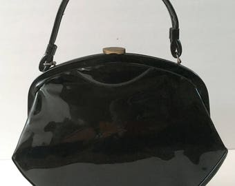 Retro 50s Black Patent Leather Purse