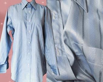Men's Vintage Blue Dress Shirt - 70s Arrow Button Down Tapered Waist Long Sleeve - 16 1/2 Neck