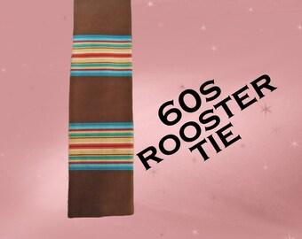 Vintage Rooster NeckTie - Mens 60s Square Necktie - Bright Signal Stripes - Rooster Tie - Square Tie - 60s Thin Retro Neck Tie Gift for Dad