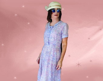 Girl Grunge Dress - 50s Vintage Sheer Cotton Day Dress - Lavender Casual - Rhinestones