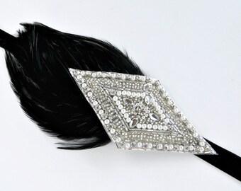 Roaring Twenties Daisy Costume Great Gatsby Headpiece, Roaring 20s Daisy Buchanan Gatsby Dress Flapper Headpiece, Black Head Band Silver