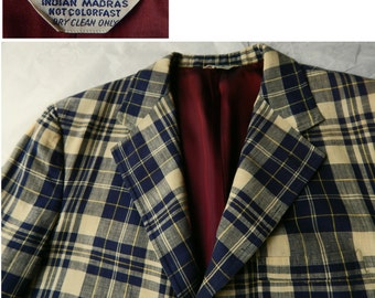 1970s Hand Woven Madras Plaid Sport Coat. Navy, Cream and Yellow Indian Madras Plaid. Bleeding Madras.  Chest 42