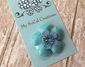 Itty Bitty Baby Snap Clip-Turquise Shimmer Flower-no slip-babys first hair clip-fine hair