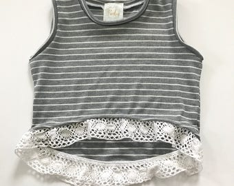 Hi Low Gray Striped tank with crochet trim