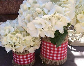 Mason Jar Wrap, Check Red & White, Mason Jar Decoration, Choose Size and Number of Wraps, Wedding, Shower, Party Decoration