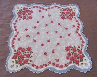 Beautiful White BlueFloral Cotton Hankie Handkerchief -  - Unused