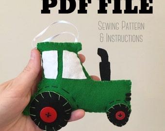 PDF Pattern Tractor Ornament, Felt Ornament, Ornament Sewing Pattern, Christmas Ornament,