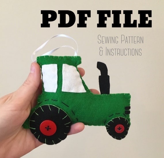 Tractor Sewing Pattern : Pdf pattern tractor ornament felt sewing