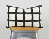 Black and White Abstract Plaid Decorative Pillows | Geometric Throw Pillow Case | Gray, Beige, Coffee, Black Accent | Lumbar Cushion Cover