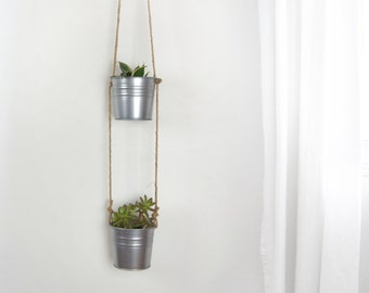 Double Hanging Planters in Natural Beige and Gray Stainless Steel For Succulent | Pair of 2 Planter Pots and Plant Hanger | Modern Decor