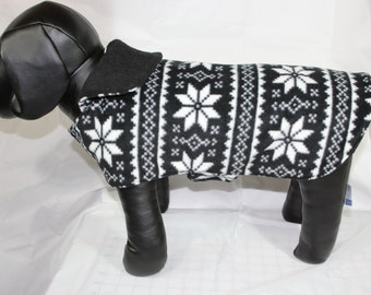 Small Fleece Black and White Snowflake Pet Coat