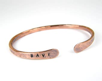 Personalized Copper Bracelet, SAVE Stamped Copper Bangle, Antiqued Copper Bangle for Men & Women in 8 Gauge Wire