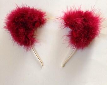 Deep Red Fuzzy Cat Ears