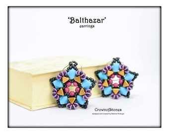 Bead pattern Balthazar earrings made with Silky beads, Kheops par Puca, O beads, Fire polished rounds, seed beads