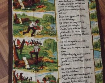 Australian Linen Tea Towel from Australia by Leil - Pure Linen - Vintage Tea Towel - Has Waltzing Matilda Lyrics