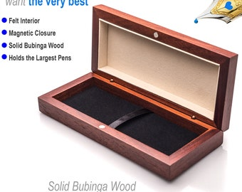 Wooden Pen Presentation Box for Fine Writing Instruments Nice Gift Box Felt Interior Magnetic Closure  Great for Engraving