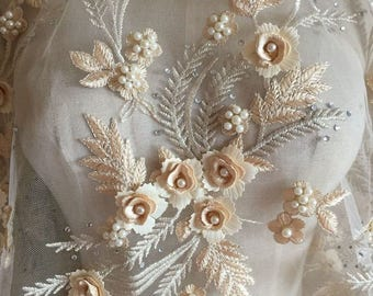 Pearl Beaded Lace Applique 3D Flowers Sequined Patch Motif For Costume Wedding Bodice Bridal Veil Accessories High Quality #8 Beige